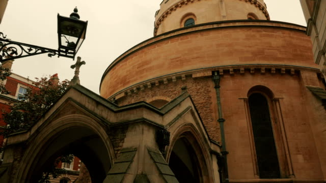 POV walk shot towards the entrance of the famous Temple Church in London, UK video