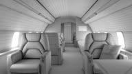 Walk through private plane interior video