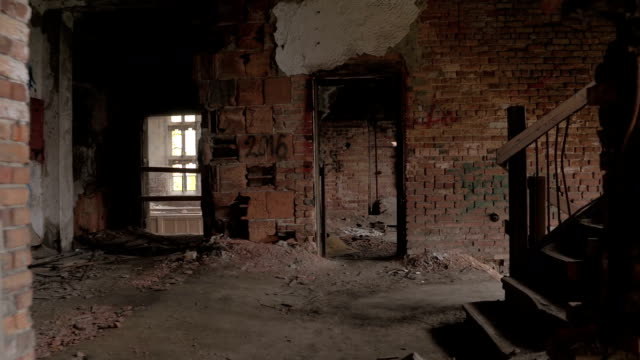 FPV: Walking across the rooms and exploring creepy abandoned house in ruins video