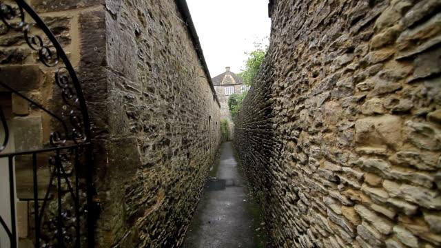 Walking An Alleyway - Cotswolds, England - Handheld video