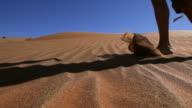 Walking barefoot over sanddunes video