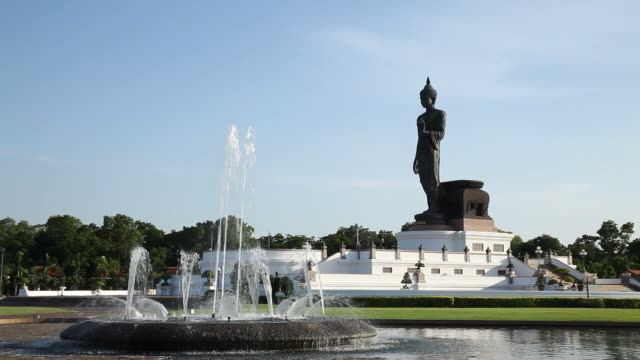 Walking Buddha statue style in Thailand video