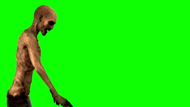 walking dead zombie walks - seperated on green screen video