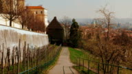 Walking Down an Orchard in Prague Old Town with a Panoramic View video
