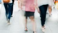 Walking feet on busy street video