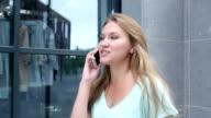 Walking Girl Talking on Phone video