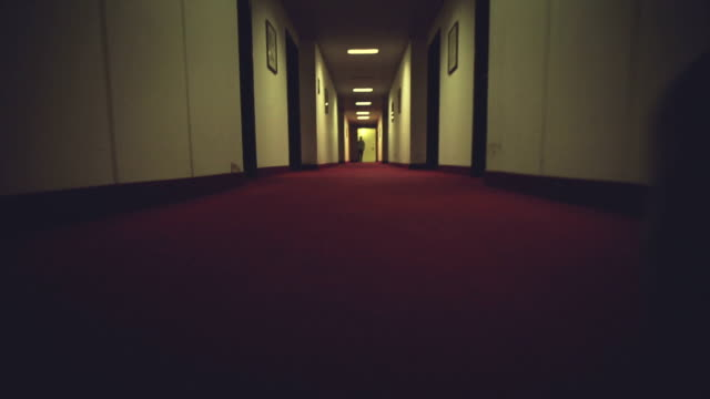 Walking in a creepy hotel corridor video