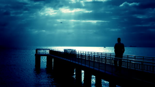 Walking Man over the Pier (blue) video