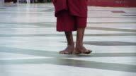walking monk in meditation video