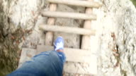 Гирл walking on aged wooden floor video