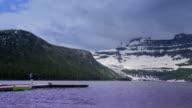 Walking on Boat Dock in Rocky Mountains video