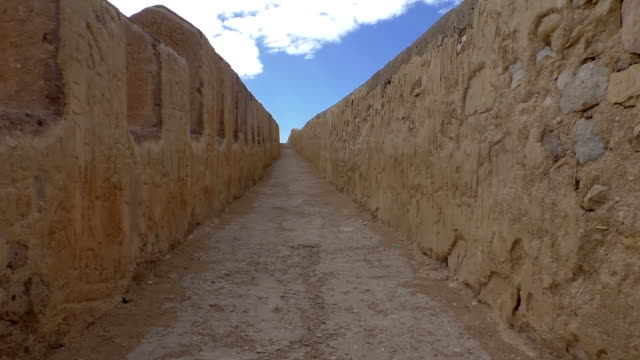 Walking on old city fortification wall video