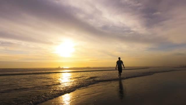 Walking on the Beach at Sunrise video