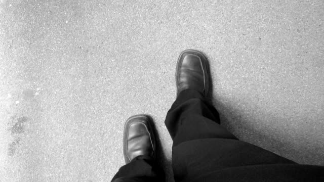 Walking stop motion, black and white. video