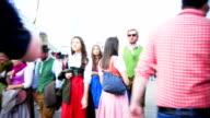 T/L POV Walking Through Crowd Of People On Oktoberfest video