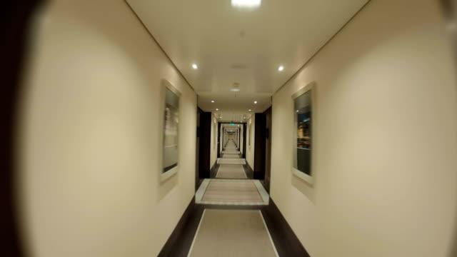 Walking through the empty hotel hall video