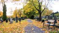 Walking through the graveyard. video