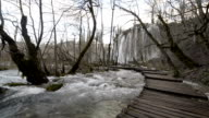 Walking throughout Plitvice Lakes National Park video HD video