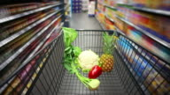 Walking With Shopping Cart In Supermarket video