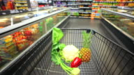 Walking With Shopping Cart In Supermarket POV video