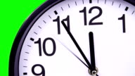 Wall clock on a green 23:55 close-up video