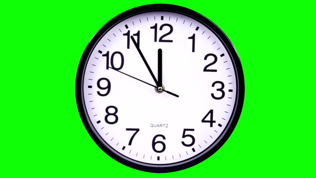 Wall clock on a green background 23:55 video