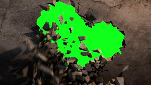 Wall explode green screen video