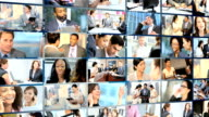 Wall montage Multi ethnic business managers working wireless video
