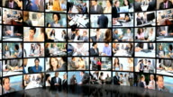 3D wall montage of Multi ethnic business managers working city video