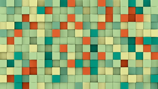 Wall of extruded colorful cubes 3D render loopable animation video