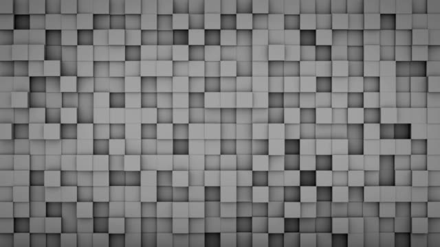 Wall of extruded grey cubes 3D render loopable animation video