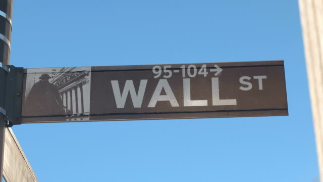 CLOSE UP: Wall Street street sign in Lower Manhattan borough of New York City video