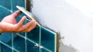 Wall tile installation for house building video