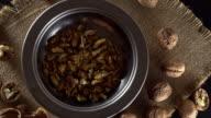 Walnuts in rotation. video