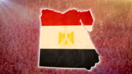 War in Egypt, Egyptian map with flag, crowd, guns background video