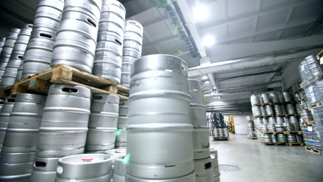 Warehouse keg at the brewery. video