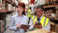 Warehouse manager and boss using a touchscreen device video