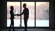 Warehouse manager shaking hands with architect video