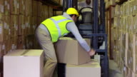 Warehouse worker packing boxes on forklift video