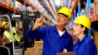 Warehouse worker showing something to colleague video