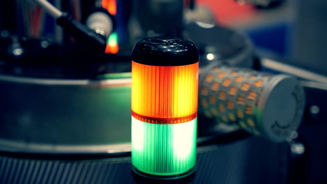 Warning lamp on the work of industrial equipment video