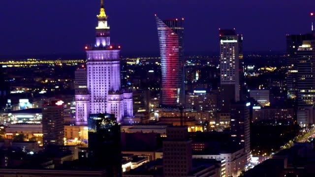 Warsaw downtown at night, aerial shot video