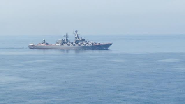 warship - flagship of the Russian Black Sea fleet video