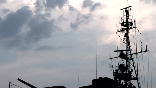 Warship Museum in the evening video