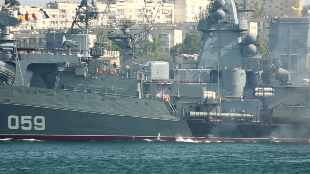 warship on maneuvers in the Sea video