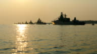 warships in the bay at anchor video