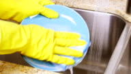Washing dishes in sink video