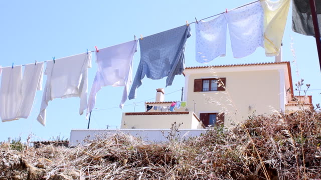 Washing line blowing in the wind video
