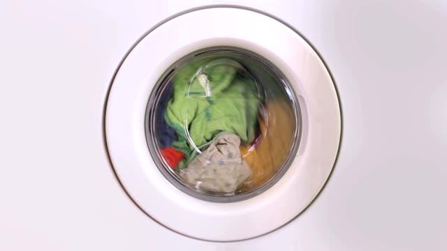 Washing machine turning - front view video