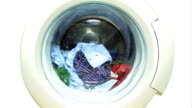 Washing machine with colorful laundry video